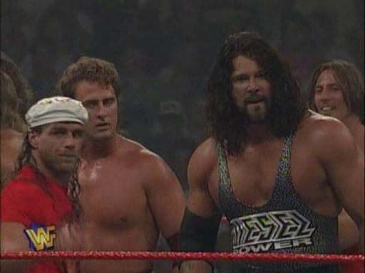 WWF / WWE - In Your House 2 - The Lumberjacks - Diesel and Shawn Micahels celebrate with Tekno Team 2000
