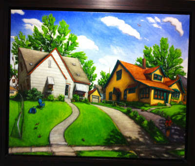 Painting of a colorful house painted Yellow and dark green trim