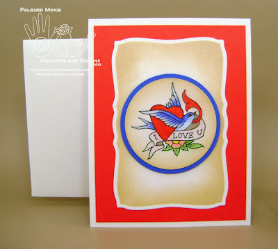 Image of my handmade tattoo art I love you card and handmade envelope.