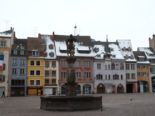Mulhouse town square in the snow