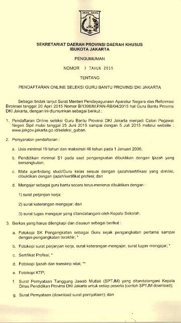 Seleksi Cpns Tahun 2015 Khusus Guru Bantu Di Dki Jakarta Forum Guru Indonesia