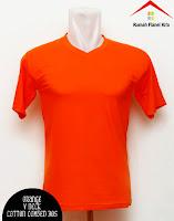 Jual Kaos Polos V Neck orange