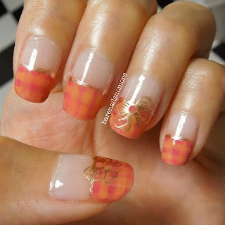 Pink and orange checkered nails with stamped bow from KKCenterHK plate