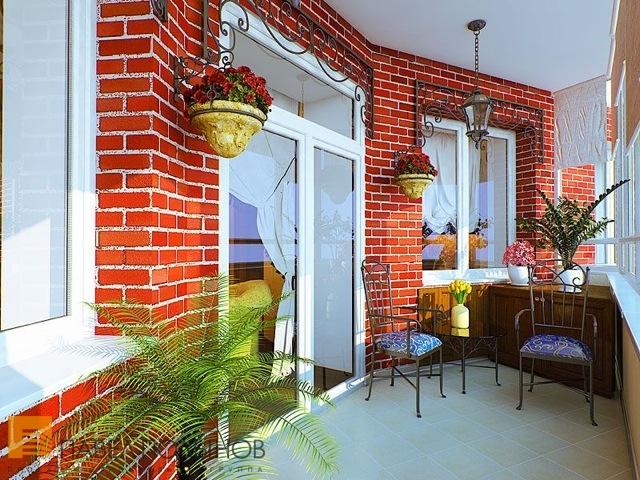 Фото оформления лоджий и балконов под кирпич..