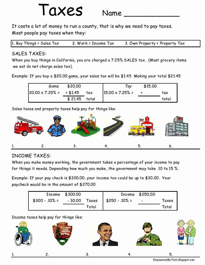 Taxes Worksheet Free Worksheets Library