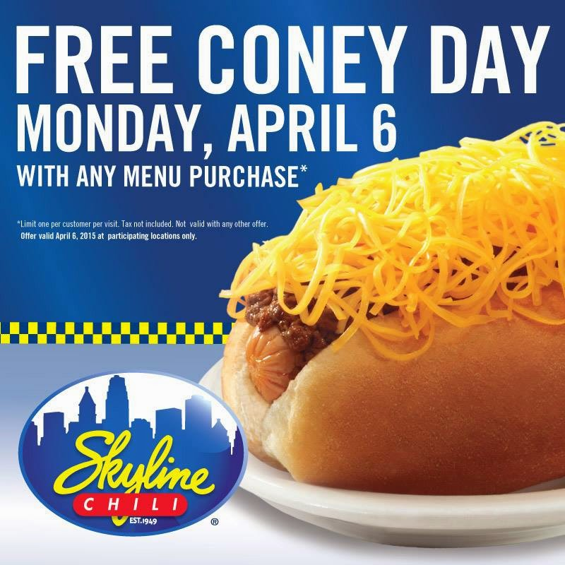 For the fourth straight year, Skyline Chili is offering a free cheese coney to all customers with the purchase of any menu item in celebration of the Cincinnati Reds' Opening Day, the restaurant.