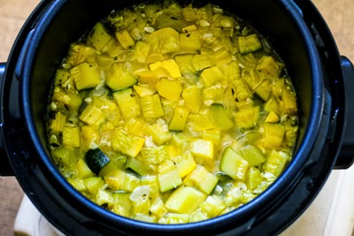 cooked squash - Zucchini and Yellow Squash Soup with Rosemary and Parmesan (Pressure Cooker or Stovetop) found on KalynsKitchen.com