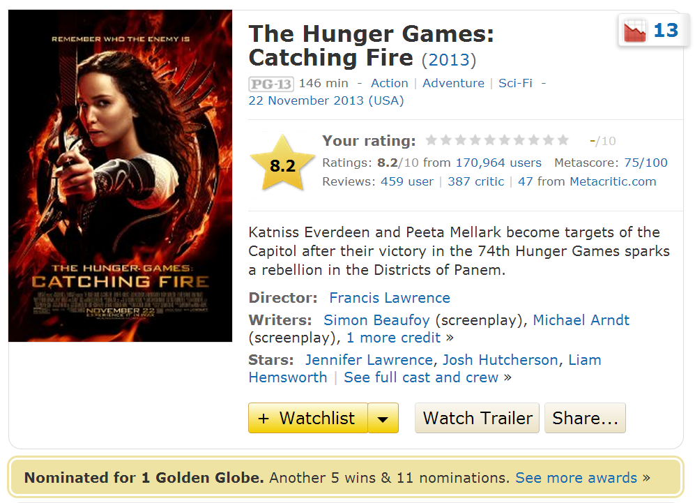 The Hunger Games Catching Fire 2013 IMDB Movie Info