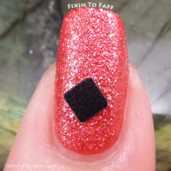 Red and black checkered nail art using square matte glitters from born pretty store.