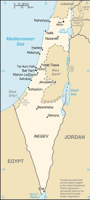 mapa de israel sencillo