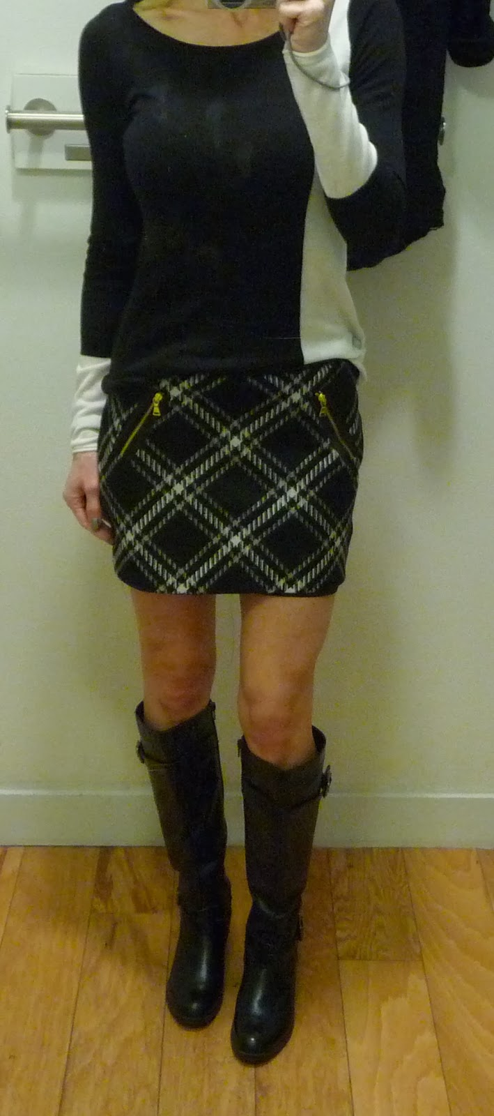 Express color block sweater, black and white, textured tartan plaid mini skirt