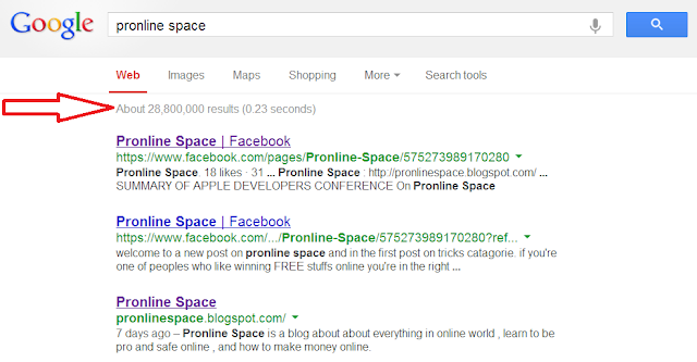 pronline space google result