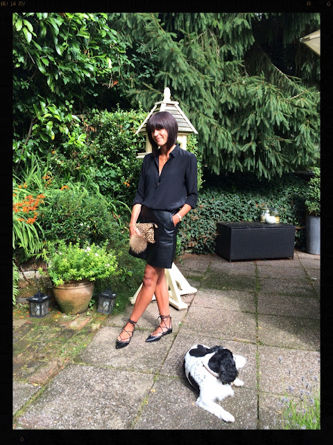 My Midlife Fashion, Zara, Ghillie Lace Up Flats, Pleather, Leather A Line Skirt, Silk Blouse, Leopard Print Clutch