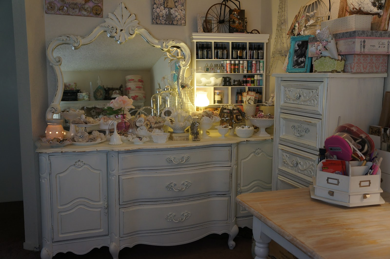 Rose n papers my atelier vintage chic style craft room - Vitrage style atelier ...