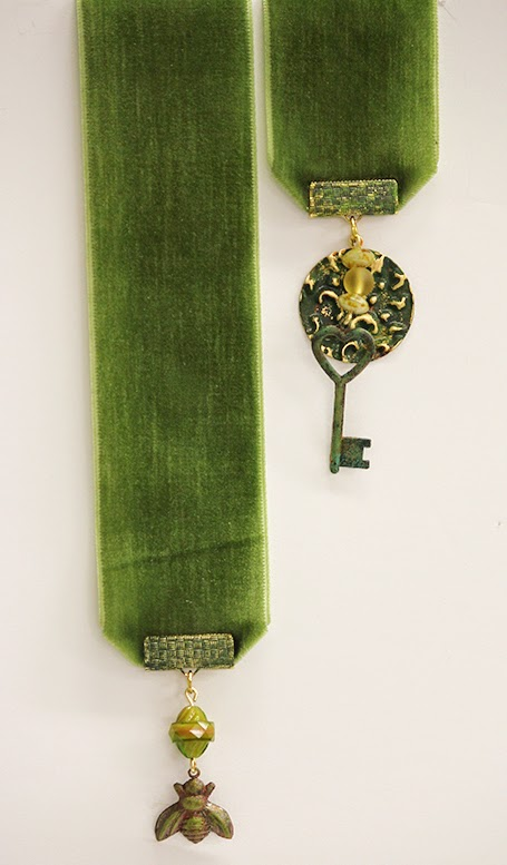 Velvet bookmark with charms and beads