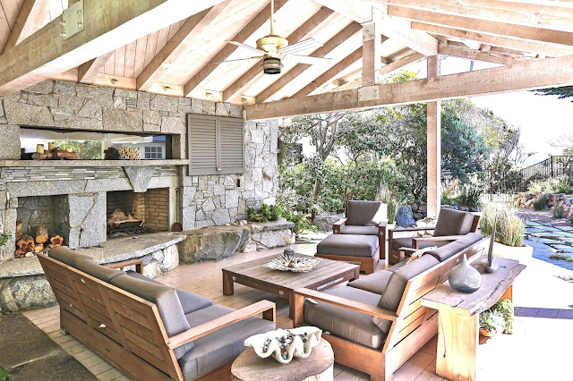 Malibu outdoor covered patio fireplace teak furniture multi million dollar home real estate listing