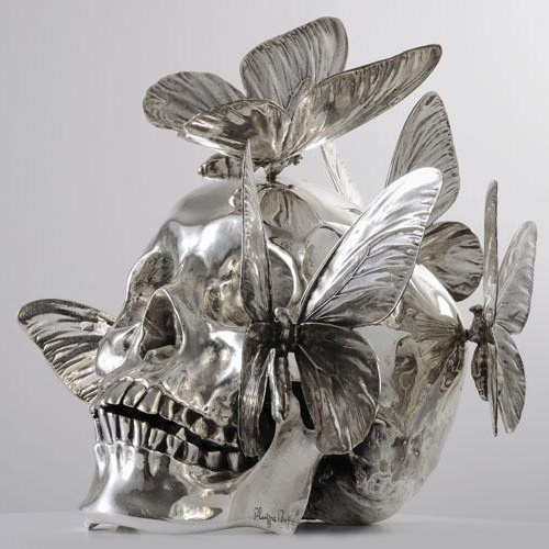 Philippe Pasqua - Chrome vanitas skull with butterflies