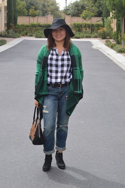 Target Open Plaid Cardigan, WHBM Haircalf Leopard Satchel, Target Terri Lace Up Wedge Booties