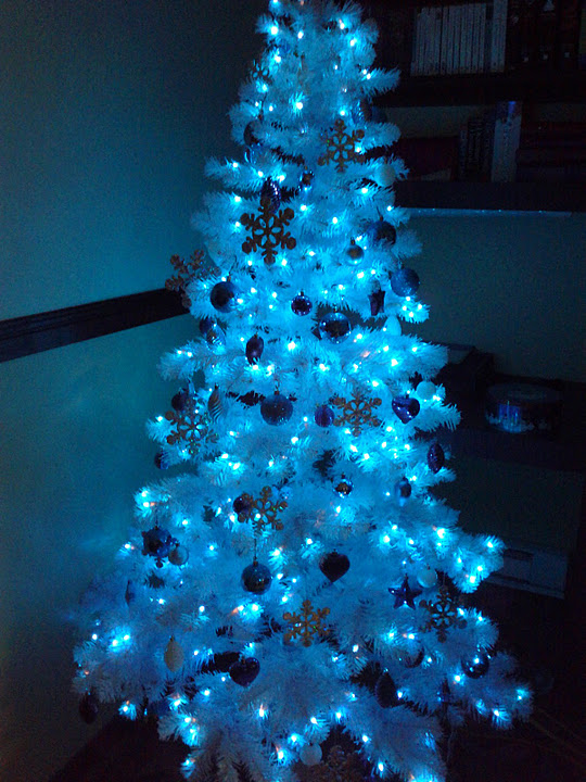 the three with the lights off - Blue And Silver Christmas Tree