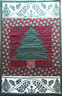 Green and Red Christmas Tree Patchwork Runner by Stitchers Anon