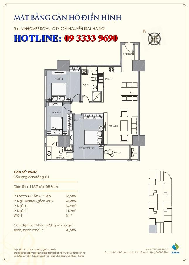 Mặt bằng căn hộ số 07 R6 Royal city