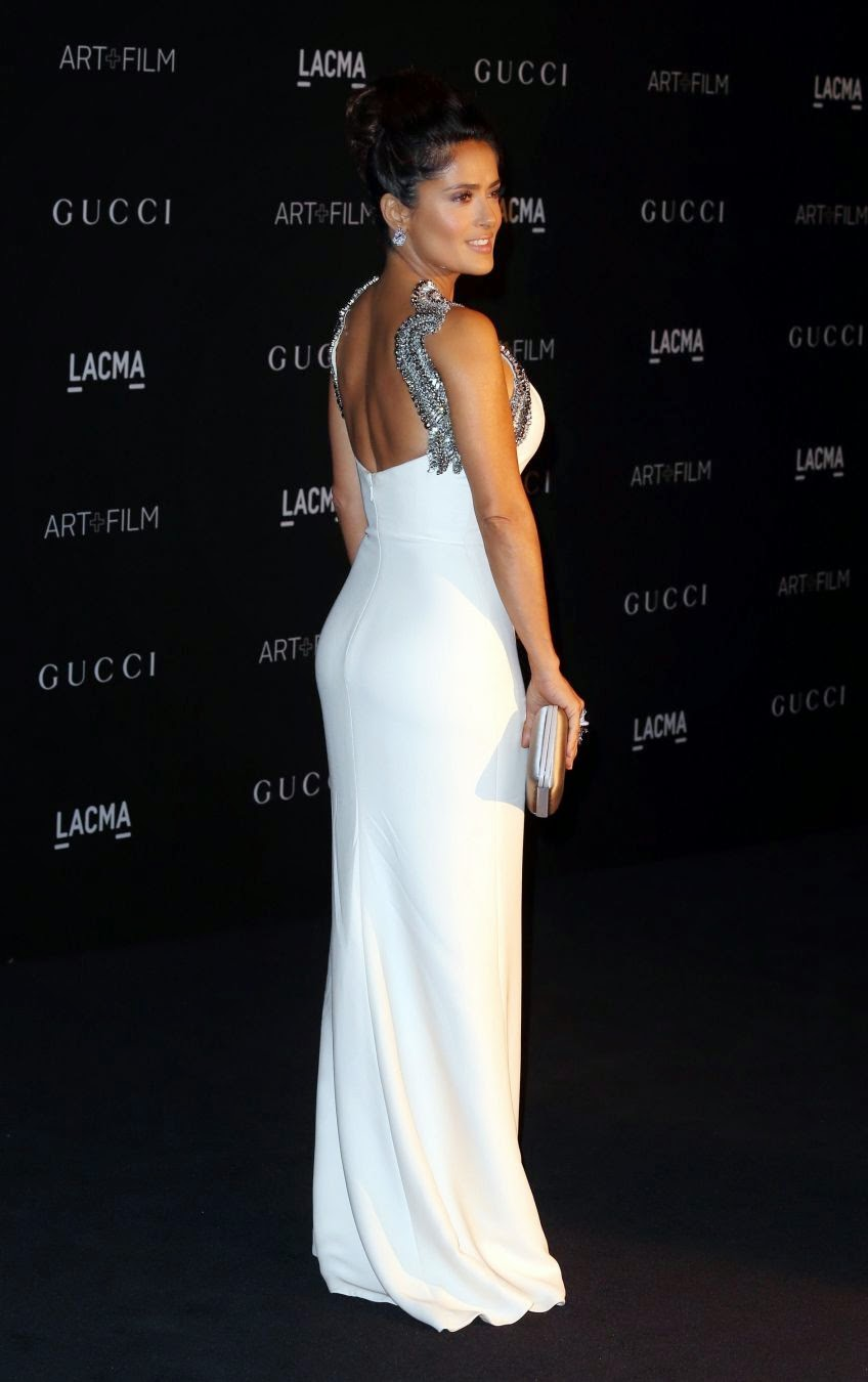 Salma Hayek in White Dress at 2014 LACMA Art + Film Gala