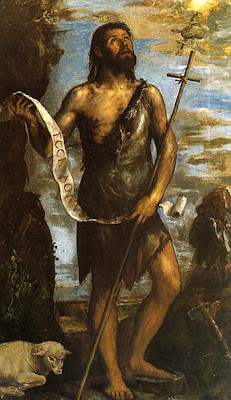 san juan vestido con pieles con pergamino,vara y un cordero a sus pies