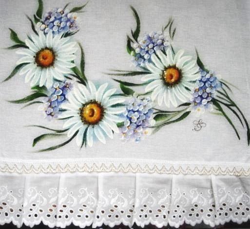 pintura em tecido pano de prato pintado