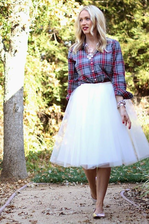 plaid shirt with tulle skirt