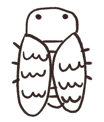 クマゼミのイラスト(虫) モノクロ線画