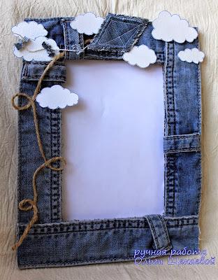 рамка для фото, из джинс
