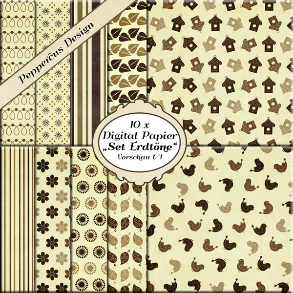 peppercus design digital papier mit verschiedenen motiven set erdt ne und flowers. Black Bedroom Furniture Sets. Home Design Ideas