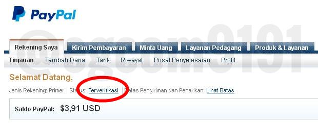 Contoh Status Akun PayPal Penulis Yang Sudah Verified