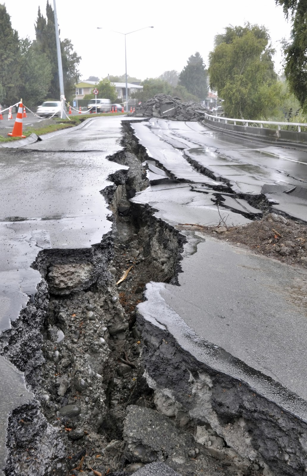 Road with large crack
