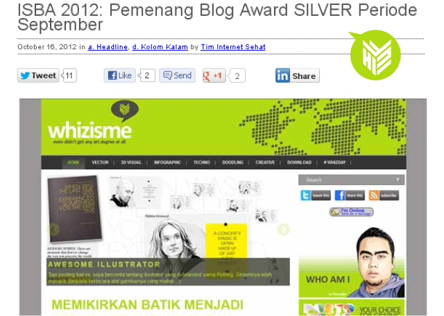 Silver award ISBA, Blogger Award, Lomba blog