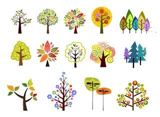 お洒落な樹木のクリップアート Trees vector illustration set イラスト素材