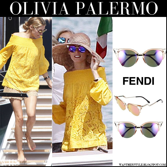 Olivia Palermo in yellow top, lace shorts with mirrored purple cat eye Fendi crystal tipped sunglasses what she wore vacation yacht july 29