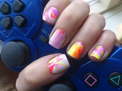 neon polish nail art challenge