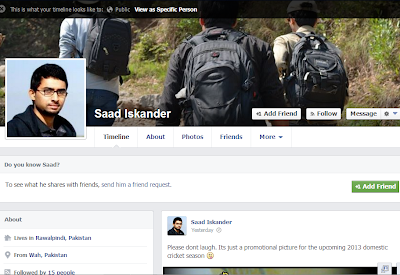 A public view of Facebook Profile