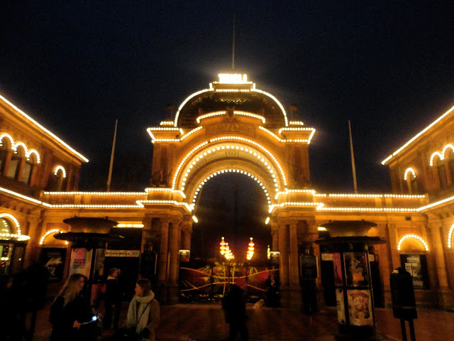 Gates of Tivoli Gardens at night, Copenhagen, Denmark