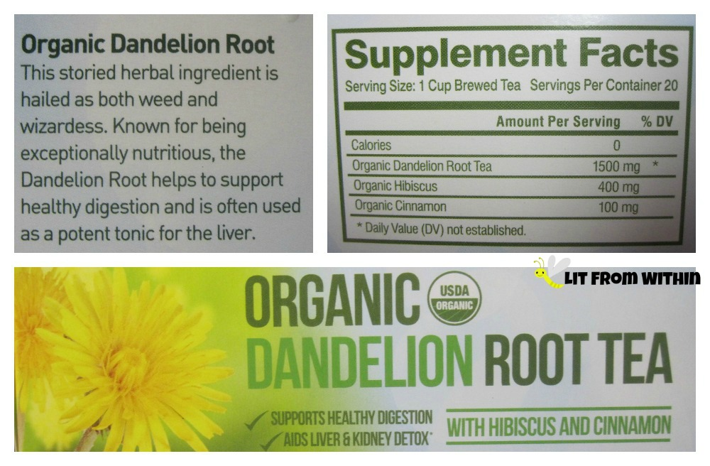 Kiss Me Organics Organic Dandelion Root Tea with Hibiscus and Cinnamon