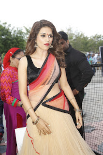 Shraddha Das in lovely Black Choli and Transparent Saree Stunning Beauty