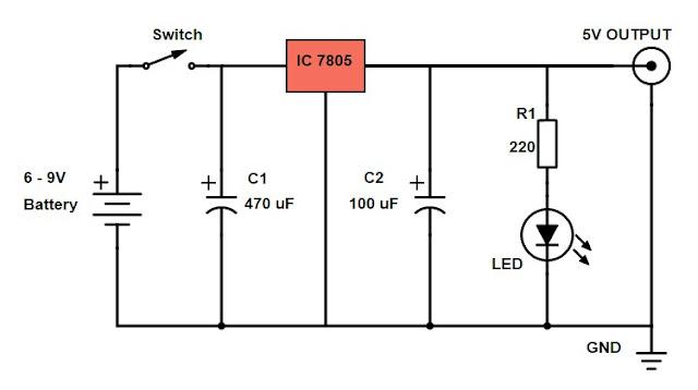 Diy Power Bank Circuit Diagram Using 7805 Voltage Regulator Ic