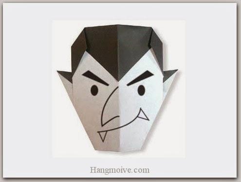 Cách gấp, xếp ác quỷ dracula Halloween bằng giấy origami - Video hướng dẫn xếp hình Halloween - How to fold a Dracula
