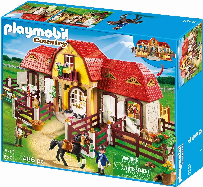 Playmobil - ref 5221 - Boite Haras avec chevaux et enclos   Dioramas ...