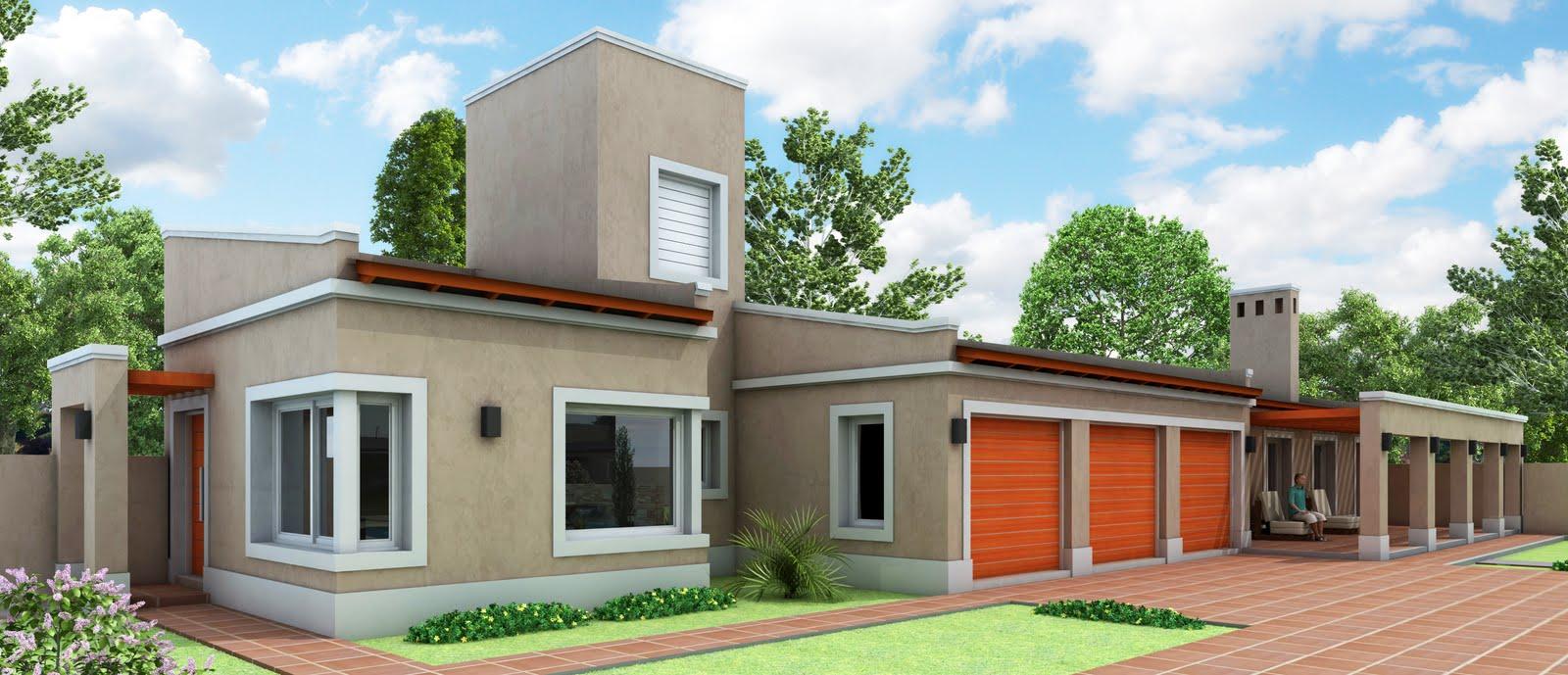 Arquitectura render quincho cocheras y oficina personal for Casas quintas modernas
