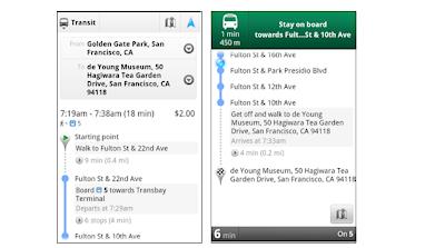 Streckenberechnung für öffentliche Verkehrsmittel ohne und mit Navigation