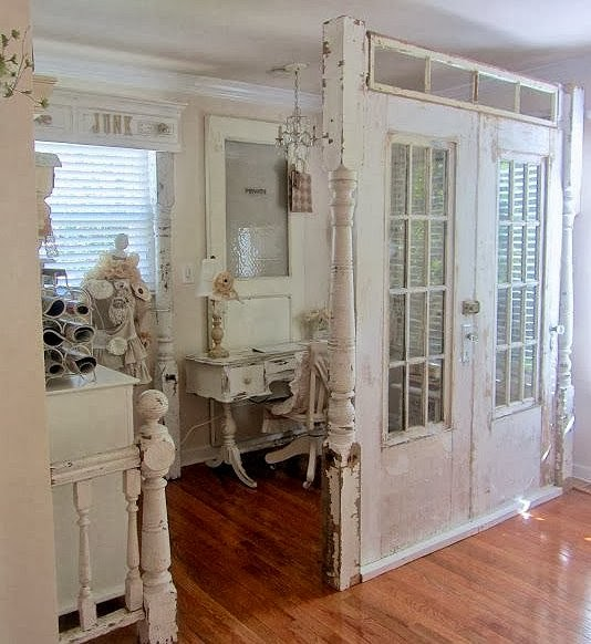 Dishfunctional designs new looks for old salvaged doors - Room divider doors ...