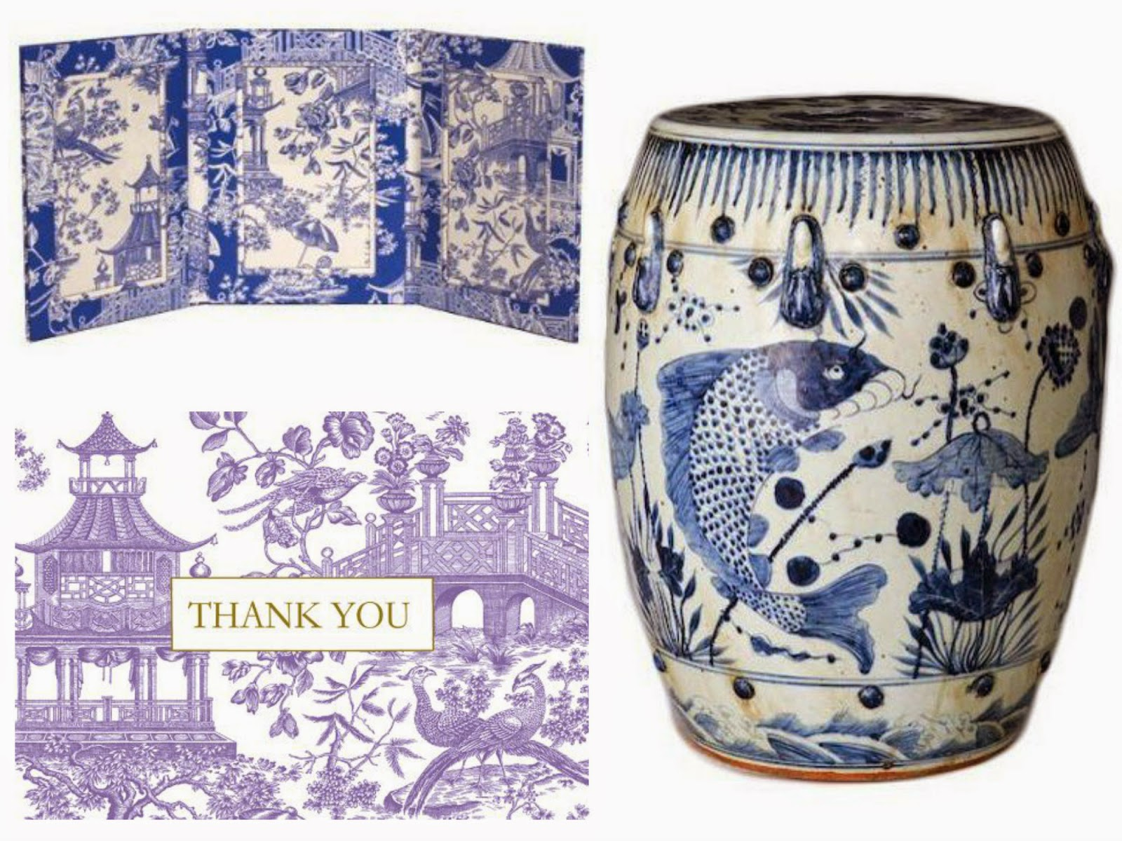 blue and white chinoiserie frame thank you cards garden stool