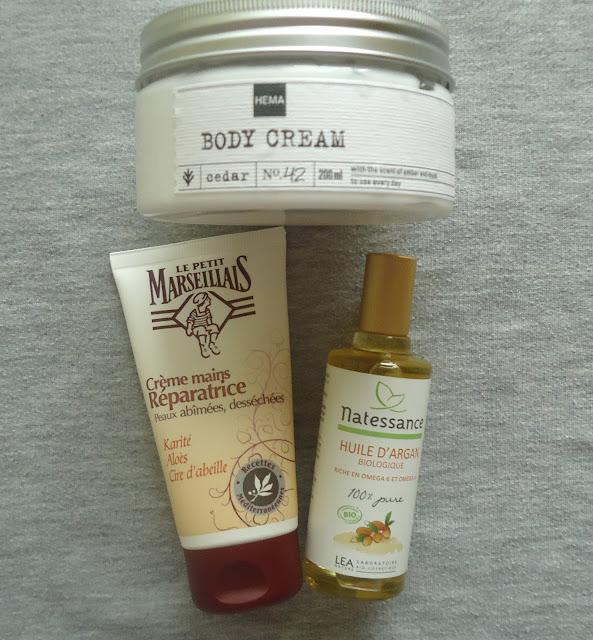 crème corps HEMA, huile d'argan et crème mains
